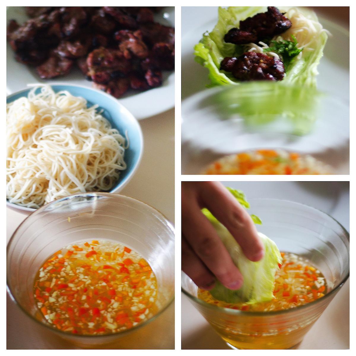grillad fläskkött i salladsblad - vietnam